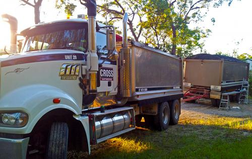 Tipper-and-dog-custom-striping